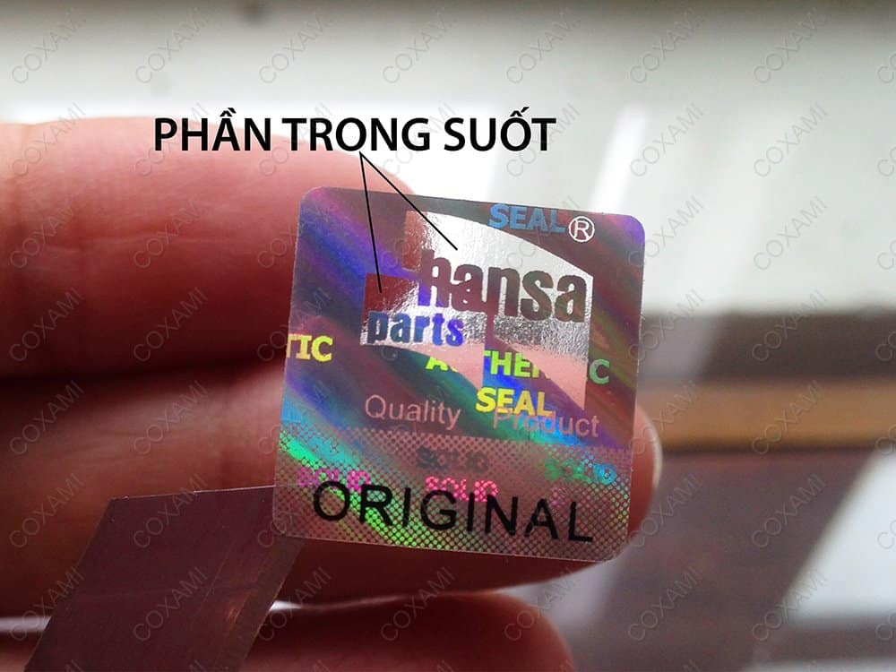 hologram anti-counterfeiting stamps throughout the part